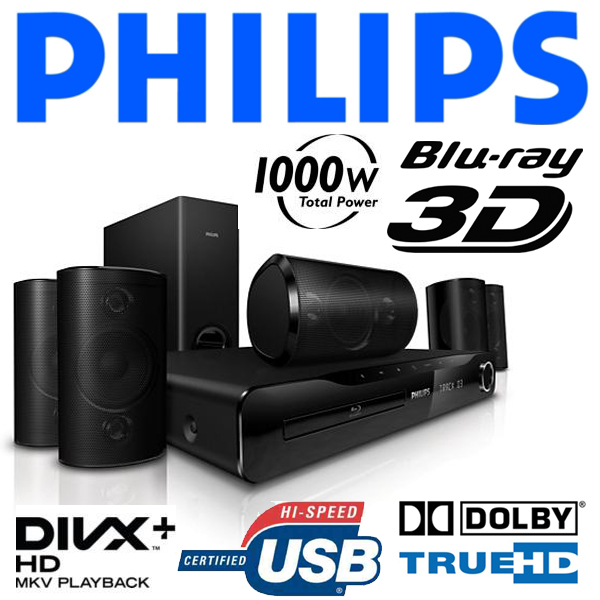 philips hts3560 3d blu ray dvd player 5 1 heimkinosystem. Black Bedroom Furniture Sets. Home Design Ideas